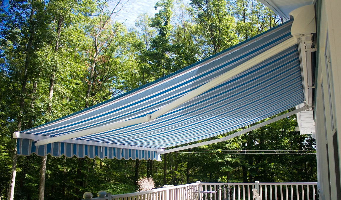 Durasol Retractable Awning U2013 11u00272u2033 Projection U2013 Striped Sunbrella Fabric  Options