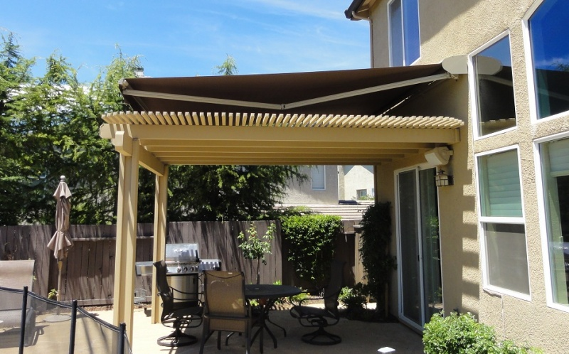 awning over patio cover 1 - Retractable Awnings Granite Bay Manual, Automatic Awnings